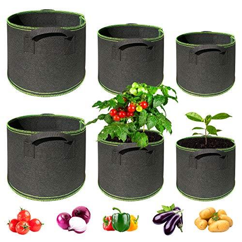 Dsaren 6 Piezas Bolsa de Cultivo de Plantas Maceta de Cultivo Bolsa de Plantas Macetas de Tela para Plantas Hogar Balcón Jardín Plantas Tomate Flores Fresas Verduras (6 Piezas)