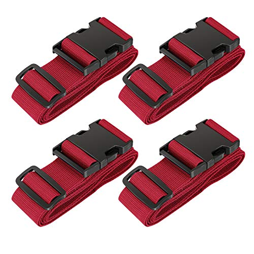 LLFSD Adjustable Luggage Straps Suitcase Belt Travel Bag Strap (Red 4Pieces)