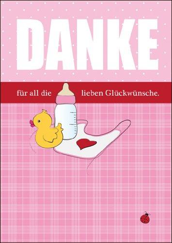 Kartenkaufrausch 5-delige set: roze bedankkaart/wenskaart als dank voor de geboorte van een meisje met babyfles, eentje en slabje: dank voor al de geliefde wensen.