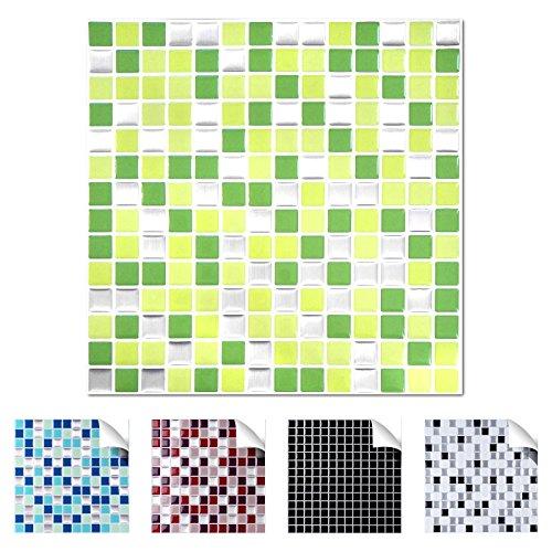 Wandaro 4er Pack 25,3 x 25,3 cm hellgrün grün Silber Design 9 I 3D Fliesenaufkleber Mosaik große Auswahl für Küche Bad Fliesenfolie selbstklebend Wandaufkleber W3329