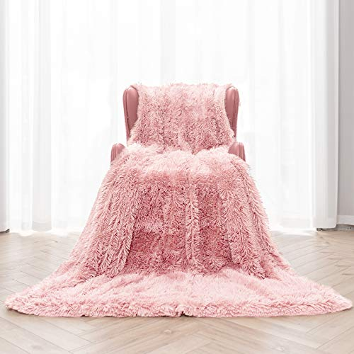 """Topblan Faux Fur Sherpa Blanket,Shaggy Fuzzy Throw Blanket,Premium Sherpa Fleece Warm and Cozy Throw Blanket for Couch Sofa Bed Photo Props 50"""" x 60"""", Baby Pink"""