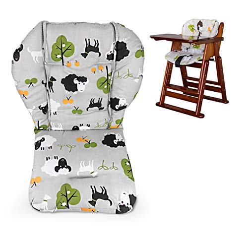 Twoworld High Chair Cushion, Large Thickening Baby High Chair Seat Cushion Liner Mat Pad Cover Breathable (Grey Sheep)