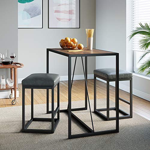 Nathan James Nelson Industrial Counter Height Dining Table for 2 Small Spaces Modern Kitchen or Pub with Black Metal Legs, Rustic Oak