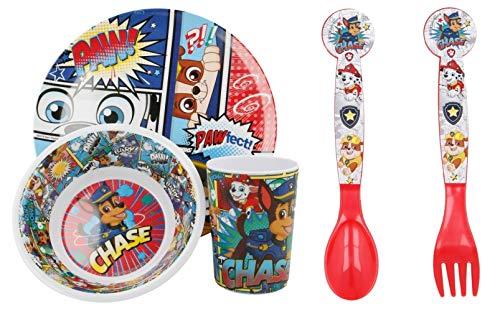 Juego de vajilla de melamina de 5 piezas de colores sin BPA, diseño oficial de la Patrulla Canina – platos, cuenco, vaso, cuchara y tenedor para niños