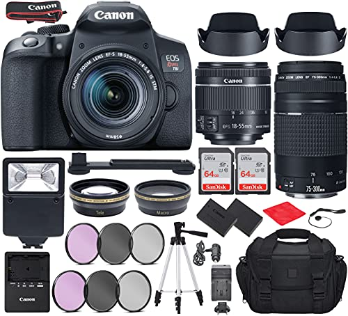 Canon EOS Rebel T8i DSLR Camera with EF-S 18-55mm f/4-5.6 is STM, EF 75-300mm f/4-5.6 III Lens Bundle, Travel Kit with Accessories(Gadget Bag, Extra Battery, Digital Slave Flash, 128Gb Memory + More)