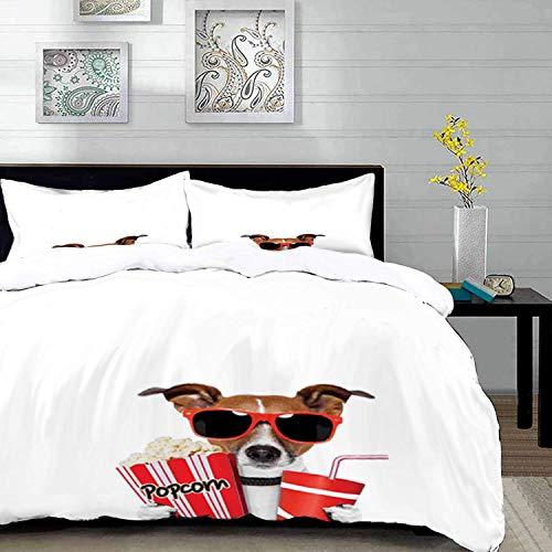 ropa de cama - Juego de funda nórdica, cine, gafas de sol divertidas para perros mirando una película con palomitas de maíz y refrescos, Multico, juego de funda nórdica de microfibra con 2 fundas de a