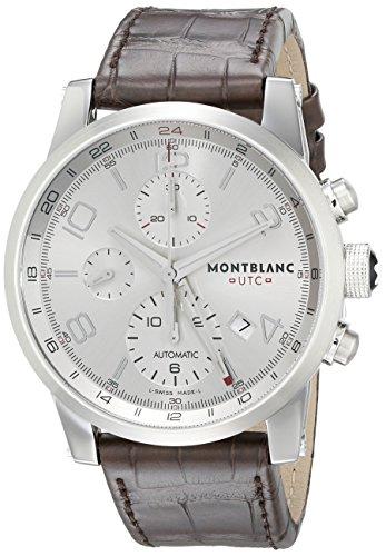 Reloj Montblanc Timewalker Chronovoyager UTC de hombre, con correa de piel marrón, reloj automático Swiss, 107065