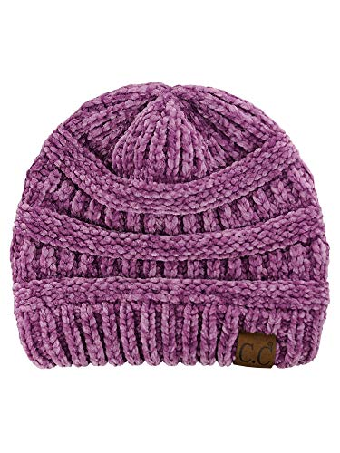 C.C Women's Chenille Soft Warm Thick Knit Beanie Cap Hat-Lavender