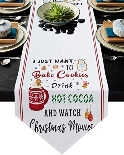 COMMER Camino de mesa, para hornear galletas y bebidas, reloj de Navidad, películas de vestidor, bufandas, decoración de mesa para fiesta de boda/ceremonia de graduación/banquete (33 x 228 cm)