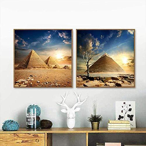 Impresión en Lienzo Impresiones y Carteles en HD Arte en Lienzo Pirámide egipcia Antigua Camello Arte de la Pared Pintura Sala de Estar Decoración del hogar 2 Piezas 80x80cm sin Marco