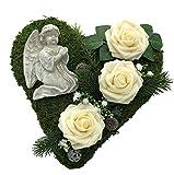 Radami, decorazione per tomba con cuore di muschio a forma di cuore, croce di lutto, cuore di lutto e rose, 30 cm, 3 rose color crema