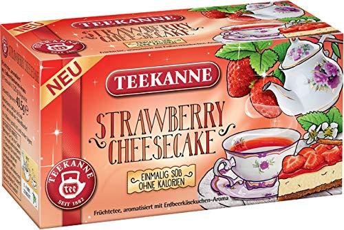 TEEKANNE Früchtetee Strawberry Cheesecake, Beutel kuvertiert, 18 x 2,25 g, Sie erhalten 1 Packung mit 18 Beutel