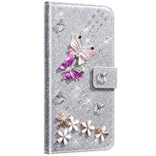 Saceebe kompatibel mit Huawei P10 lite Hülle Leder Wallet Flip Case Glitter Diamante Ledertasche mit Schmetterling Strass Glitter Lederhülle Handytasche Schutz Kratzfest Schutzhülle,Silber