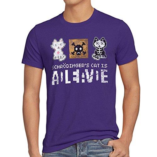 style3 8-bit Gato de Schrödinger Camiseta para Hombre T-Shirt