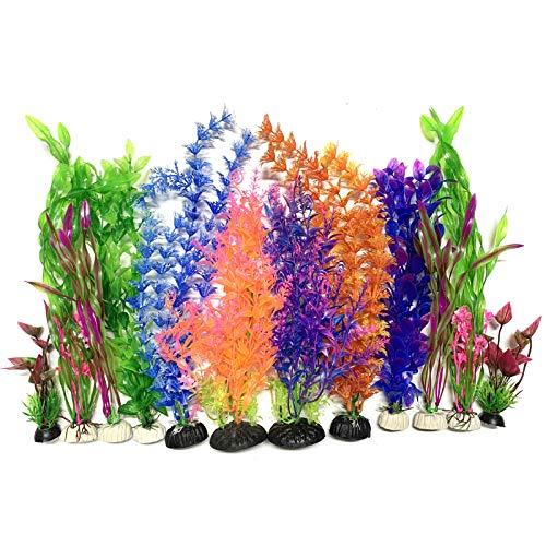 Plantes d'aquarium Plastique Décoration, PietyPet 12 Pièces Grand Plante Aquarium Artificiel Coloré Plantes Aquatiques Décor réaliste pour Décoration d'aquarium, 30cm