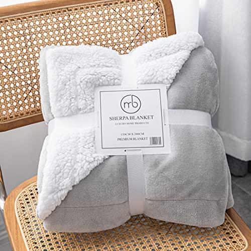 Mixibaby Hochwertige Wohndecken Kuscheldecken, extra Dicke warm Sofadecke/Couchdecke, Größe:150 cm x 200 cm, Farbe:Hellgrau