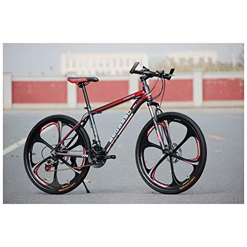COSCANA Bicicleta De Montaña 26'21-27 Velocidades Horquilla De Suspensión Bicicleta Exterior Antideslizante con Freno De Disco Doble Y Marco De Acero De Alto Carbono MTBRed-27 Speed