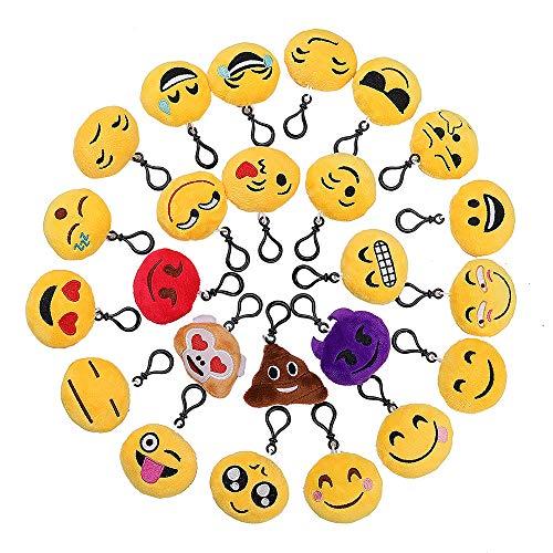 QH-Shop Emoji Schlüsselanhänger, Emoji Plüsch 6cm Mini Plüsch Kissen für Geschenk Auto Rucksack Party Favors Dekoration Kinder Spielzeug Schlüsselanhänger 24 Pack