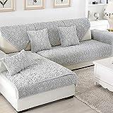 Ginsenget Funda sofá,Funda Antideslizante Respaldo,Set sofá de 1-4 plazas,Cojín de sofá de Franela 111,Gris,90 * 240cm