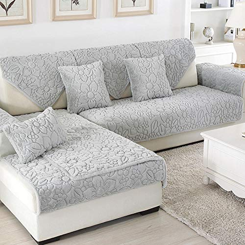 Ginsenget Funda de sofá,Funda Antideslizante,Funda de sillón,Funda Protectora Soporte de sofá,Cojín de sofá de Franela 111,Gris,70 * 210cm
