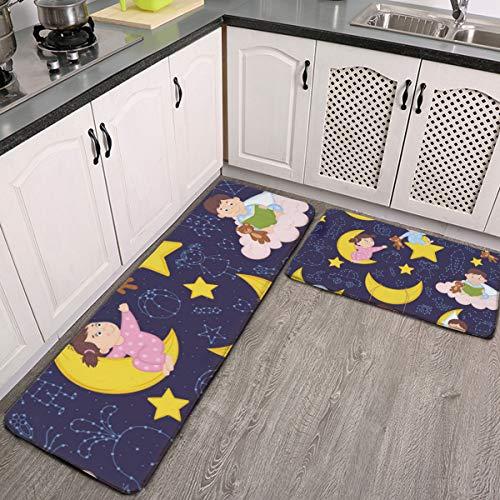 Juego de 2 alfombras de cocina, patrón sin costuras con bebé en la luna, alfombra de franela súper suave, alfombra de pasillo, antideslizante, lavable, juego de alfombras de baño