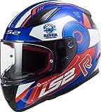 LS2 - Casco integral para moto, Rapid Stratus, azul blanco y rojo, S