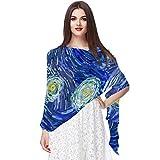 Photo de Bennigiry Van Gogh Glowing Moon et Ciel étoilé Foulard Foulards Infinity Lightweight Long Sheer Wrap Châle pour Femme