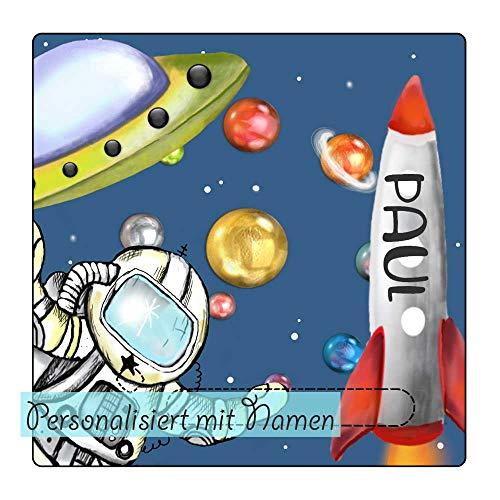 My Sweetheart® Schutzcover geeignet als Toniebox Schutzfolie mit Namen wischfest kratzfest Tonie Folie LED durchscheinend mit Astronaut Rakete