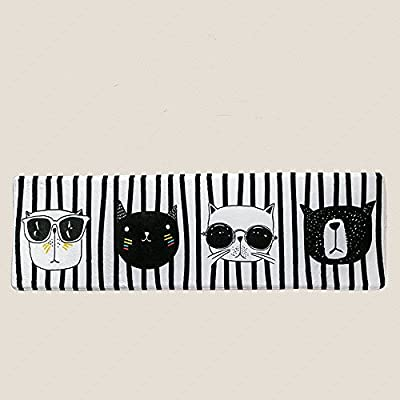 Wolala Home Modern Simple Black and White Striped Cute Cats Girls Bedroom Bedside Rug Runners (1'5x5'0, white)