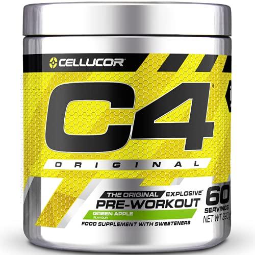 C4 Original - Suplemento en polvo para preentrenamiento - Manzana verde | Bebida energética para antes de entrenar | 150mg de cafeína + beta alanina + monohidrato de creatina | 60 raciones
