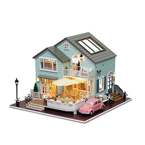 DWLXSH Bricolaje de Madera Miniatura de Dollhouse Kit Mini-Casa Woodcraft Construction Kit-3D Rompecabezas de Madera de Modelo Conjuntos construcción de cumpleaños for niños y niñas