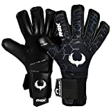 Renegade GK Eclipse Helix Professional Goalie Gloves | 4mm EXT Contact Grip & Breathaprene | Black & White Soccer Goalkeeper Gloves (Size 7, Youth, Negative Cut, Level 5)