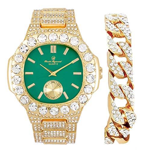 Más grande es mejor de gran tamaño o diamantes Baguette para el lujoso King-Your Style! Tu elección!-Bling-ed Out Oblong Metal Mens Watch w/Cuban Bracelet - ST10316CE Cuban