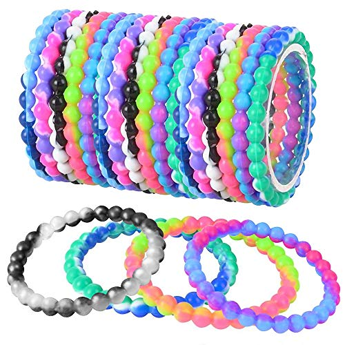 ArtCreativity Tie Dye Bead Bracelets - Pack of 12 Stretch Novelty Wristbands in Assorted Colors - Fun Party Favor, Carnival Prize, Goodie Bag Fillers, Bracelets for Kids and Adults