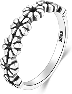 BORUO 925 Sterling Silver Ring, Daisy Flower Hawaiian High Polish Tarnish Resistant Comfort Fit Wedding Band Ring