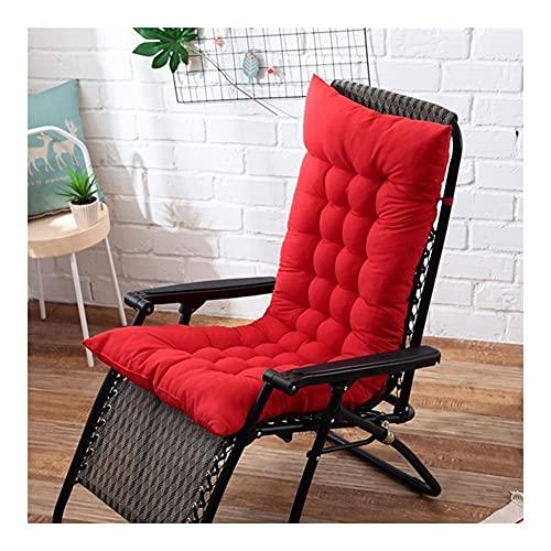 LLLD Cuscino per Sdraio Lettino Cuscino del Sedile Reclinabile Pieghevole Portatile Sdraio Cuscino per Lettino da Giardino(Non Incluso Sedia) (Color : Red, Size : 125 * 48cm)