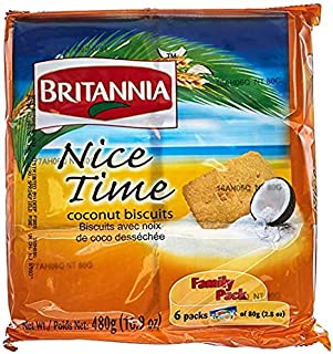 Britannia Nice Time Coconut Biscuits (Pack of 6)