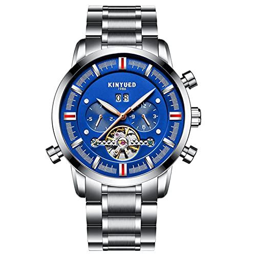 JTTM Hombre Impermeable Acero Inoxidable analógico Reloj mecánico Masculino Negocio Vestido Elegante Calendario Gents Reloj,Silver Blue