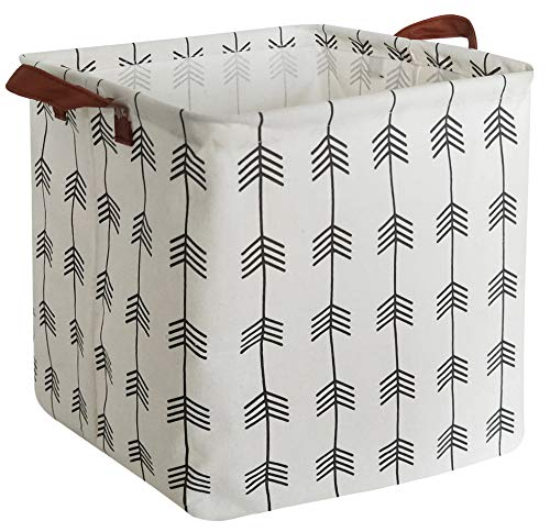 HIYAGON Square Storage Bins,Laundry Baskets Canvas Fabric Waterproof Collapsible Nursery Box with Handles for Gift…