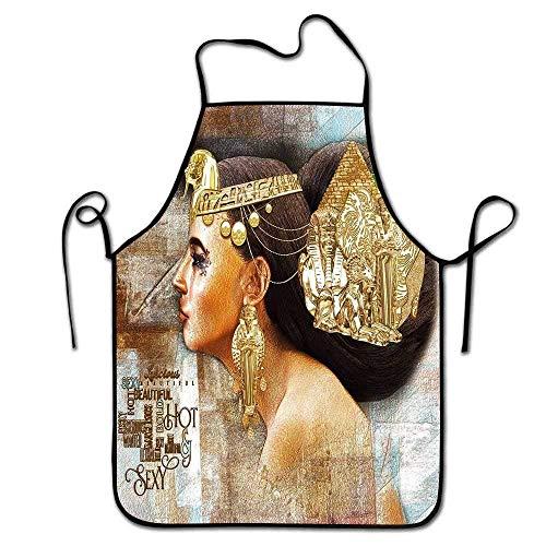 Not Applicable Delantal Egipcio Cocina Mujer Reina Cleopatra Perfil Escena de Arte histórico con pirámide Antigua Delantal de esfinge Frente Marrón Dorado