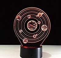 3 D錯覚ランプledナイトライト惑星ナイトライトミニledライト電池式ランプテーブルニュートledライト用ホームバスルームライトledランプ用ランプ,Multicolored