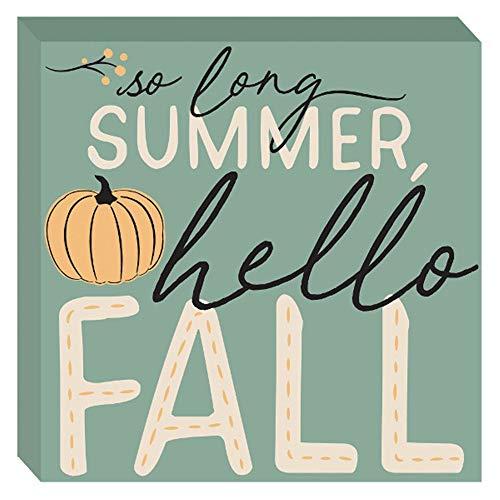 HAPPY DEALS ~ So Long Summer, Hello Fall Block Tischschild – 19,1 x 19,1 cm – Herbst- und Erntedekorationsschild