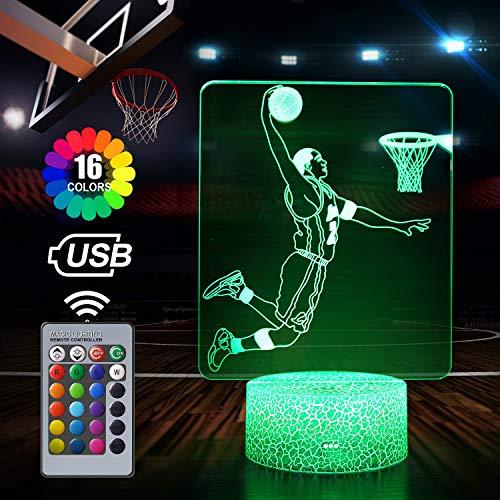 Basketball 3D Nachtlicht für Jungen, Geschenke für Basketballfans, Dimmbare 3D Nachtlicht mit 16 Farben Ändern und Fernbedienung, Geschenke 8 9 10 1112 Jährige Jungen (Basketball)