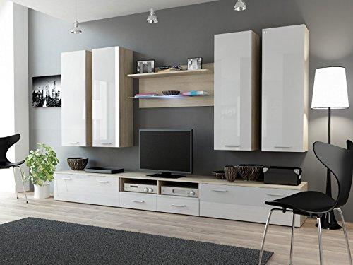 Wohnwand 'Dream III' Hochglanz Wohnzimmer Tv Wand , Farbe:sonoma eiche Matt / weiß Hochglanz