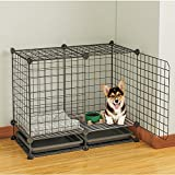 KOUSI DIY Pets Playpen,Metal Enclosure Net Exercise Yard Fence Cage with Door for Small Pets Small Animal Cage for Rabbit, Guinea Pigs, Puppy (12 Grid Panels+2 tray