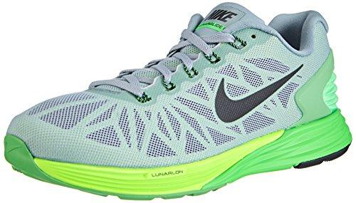 Nike Lunarglide 6, Herren Laufschuhe, Grau (Dove Grey/Black-Poison Green-Flash Lime), 41 EU (7 Herren UK)