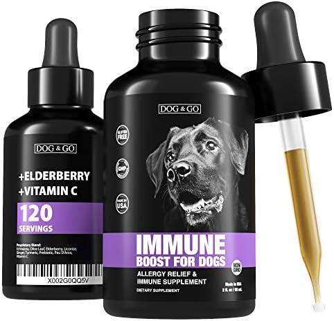 Dog Immune Booster Allergy Immunity Vitamins Liquid Multivitamin for Dogs Elderberry Turmeric product image