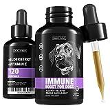 Dog Immune Booster - Allergy Immunity Vitamins - Liquid Multivitamin for Dogs: Elderberry, Turmeric, Prebiotic, Vitamin C - Immune System Support Drops for Puppy and Pets.