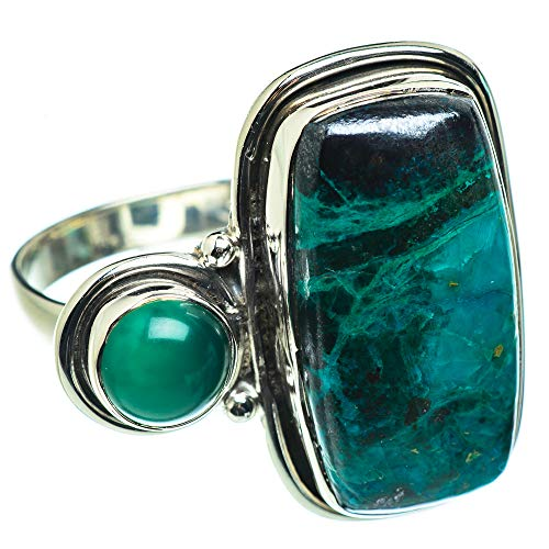 Ana Silver Co Large Chrysocolla, Green Onyx Ring Size S 1/2 (925 Sterling Silver)