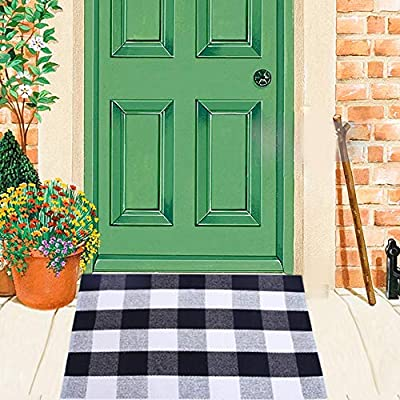 Cotton Buffalo Check Rugs Front Porch Rug Gingham Doormat Plaid Rug Outdoor Buffalo Checkered Black and White Welcome Mat Farmhouse Black Checkered Door Mat Washable Woven Mat 1'x2'
